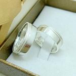 Aliança de Compromisso 6mm 8 gramas Prata 950 Frisos Diamantados Modelo Cortez