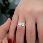 Alianças Compromisso 6mm 8 gramas Prata 950 Frisos Diamantados Modelo Cortez