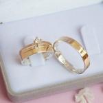 Aliança de Ouro 18K e Prata 4mm 8 gramas Modelo Leona + Solitário Alice Ouro 18k