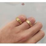 Aliança Em Ouro 18k Revestida 6mm Reta Frisos