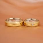 Aliança de Ouro 18k e Prata 6mm 10 gramas Modelo Gaia