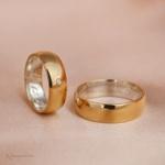 Aliança de Ouro 18K e Prata 6mm 10 gramas Modelo Gross