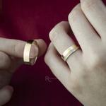 Aliança em Ouro 18k e Prata 6mm 10 gramas Reta Modelo Charlote