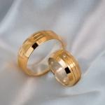 Aliança em Ouro 18k e Prata 8mm 16 gramas Modelo Tróia