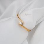 Anel Noivado Ouro 18k 2g Modelo Aura
