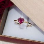 Anel Solitário Noivado Ouro 18K Rubi Natural Modelo Rubi Love