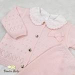 Conjunto em Tricot Laço Rosa