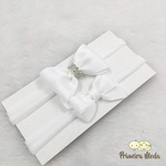 Kit Faixa para bebê Duplo Gravatinha Branco com Brilho
