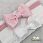 Kit Faixa para bebê Duplo Gravatinha Rosa