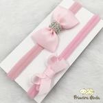 Kit Faixa para bebê Duplo Gravatinha Rosa com Brilho