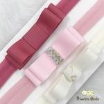 Kit Faixa para bebê Triplo Chanel Rosa