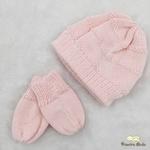 Kit Touca e Luva Tricot Rosa Bebê
