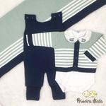 Saída De Maternidade Francisco Verde com Jardineira Azul