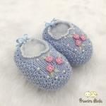Sapatinho De Tricot Flor Azul
