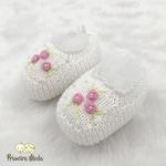 Sapatinho De Tricot Flor Branco