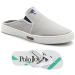 Kit Babuche Slip On Mule Polo Joy Com Chinelo Casual Cinza