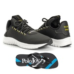 Kit Tênis Masculino Polo Joy Sport Com Chinelo Preto