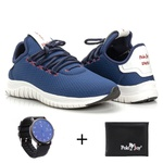Kit Tênis Masculino Polo Joy Sport Com Carteira e Relógio Azul Escuro