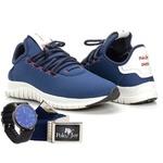 Kit Tênis Masculino Polo Joy Sport Com Relogio e Cinto Azul Escuro