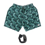 Kit Shorts Praia Estampado Polo North Verde C/ Pulseira