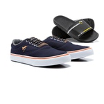 Kit Sapatênis Masculino Polo North Vulcan Pro em Lona C/ Chinelo Slide Polo North Azul Marinho