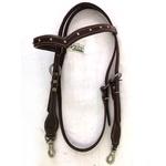 Cabecada Protec Horse Testa Couro - V afogador mosquetão e tacha