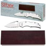 Canivete Slitzer INOX Serrilhado - Com estojo de madeira - SKSZ60
