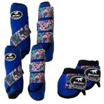 Kit Completo Boots Horse Color Cloche e Boleteira Dianteira e Traseira - Azul Royal / velcro Estampado 20