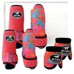 Kit Completo Boots Horse Color Cloche e Boleteira Dianteira e Traseira - Rosa / velcro estampa 11