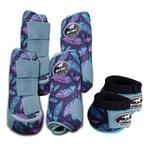 Kit Completo Boots Horse Color Cloche e Bolteira Dianteira e Traseira - Estampa A29 / Velcro Azul bebê