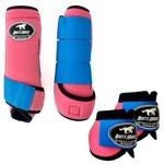 Kit Simples Color Boots Horse Cloche e Boleteira- Rosa / Velcro Azul Turquesa (890)