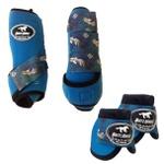 Kit Simples Color Boots Horse Cloche e Boleteira - Azul Royal / velcro estampa 13