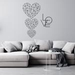 Kit 4 Esculturas de Parede | Decoração Coração + Presente (Palavra de Parede Gratidão)