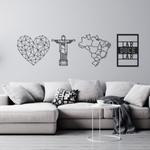 Kit 4 Esculturas de Parede   Decoração Brasil + Presente (Palavra de Parede Gratidão)