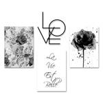 Kit 3 Quadros Rosa Negra + Palavra Love Decoração + Presente (Palavra de Parede Gratidão)