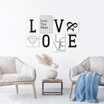 Kit Decoração Love Cinza + Presente (Palavra de Parede Gratidão)