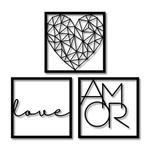 Kit 3 Esculturas de Parede | Decoração Love Amor + Presente (Palavra de Parede Gratidão)
