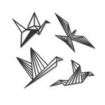 Kit Esculturas de Parede Passarinhos Origami