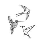 Kit Esculturas de Parede Passarinhos Geométricos