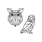 Kit Esculturas de Parede Corujas Geométricas