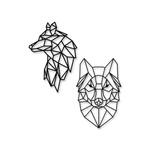 Kit Esculturas de Parede Lobos Geométricos