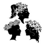 Kit Esculturas de Parede Mulheres Coroa de Flores