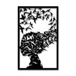 Escultura de Parede Mulher Pássaros