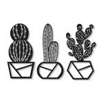 Kit Esculturas de Parede Vazinhos de Cactus