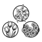 Kit Esculturas de Parede Quadros Redondos Flores