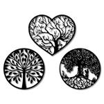 Kit Esculturas de Parede Quadros Redondos Árvore