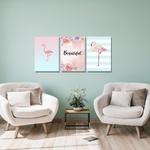 Kit Quadros Decorativos Flamingos Beautiful