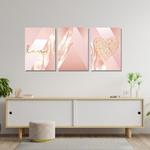 Kit 3 Placas Decorativas Love Rosa Abstrato
