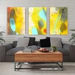 Kit Quadros Decorativos Abstrato Amarelo