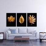 Kit 3 Placas Decorativas Folhas Douradas